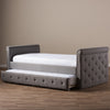 Baxton Studio Swamson Modern and Contemporary Grey Fabric Tufted Twin Size Daybed with Roll-out Trundle Guest Bed