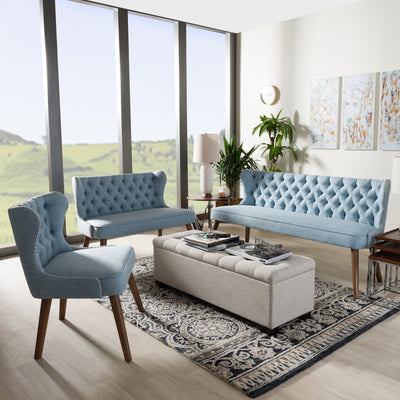 Baxton Studio Scarlett Mid-Century Modern Walnut Brown Wood and Light Blue Fabric Upholstered Button-Tufting with Nail Heads Trim Livingroom 3-Piece Sofa Set