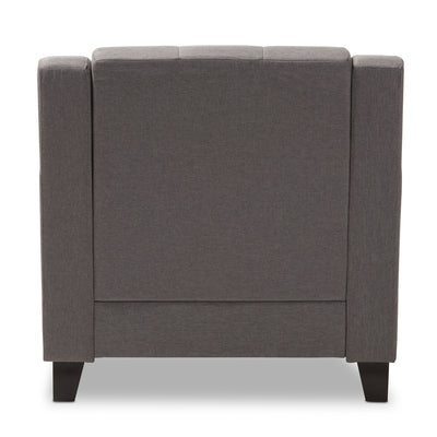 Baxton Studio Arcadia Modern and Contemporary Grey Fabric Upholstered Button-Tufted Living Room 1-Seater Chair