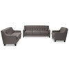 Baxton Studio Arcadia Modern and Contemporary Grey Fabric Upholstered Button-Tufted 3-Piece Living Room Sofa Set