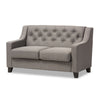 Baxton Studio Arcadia Modern and Contemporary Grey Fabric Upholstered Button-Tufted Living Room 2-Seater Loveseat