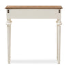 Baxton Studio Marquetterie French Provincial Style Weathered Oak and White Wash Distressed Finish Wood Two-Tone Console Table