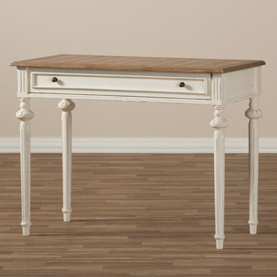 Baxton Studio Marquetterie French Provincial Weathered Oak and Whitewash Writing Desk