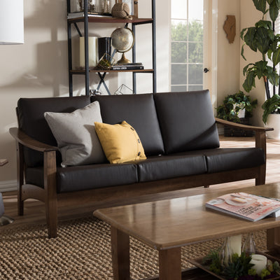 Baxton Studio Pierce Mid-Century Modern Walnut Brown Wood and Dark Brown Faux Leather 3-Seater Sofa