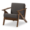 "Baxton Studio Cayla Mid-Century Modern Grey Fabric and ""Walnut"" Brown Wood Living Room 1-Seater Lounge Chair"