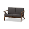 "Baxton Studio Cayla Mid-Century Modern Grey Fabric and ""Walnut"" Brown Wood Living Room 2-seater Loveseat Settee"