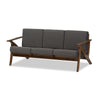 "Baxton Studio Cayla Mid-Century Modern Grey Fabric and ""Walnut"" Brown Wood Living Room 3-seater Sofa"