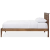 Baxton Studio Loafey Mid-Century Modern Solid Walnut Wood Window-Pane Style Platform Bed