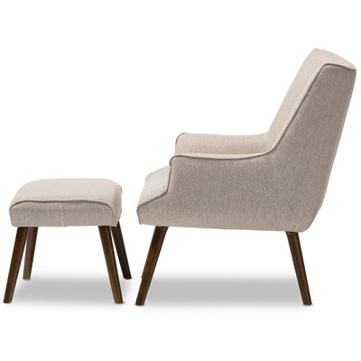 Baxton Studio Nola Mid-Century Inspired Beige Fabric Upholstered Occasional Armchair and Ottoman Set