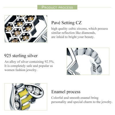 Hunnie Bee & Hive Ring 925 Sterling Silver