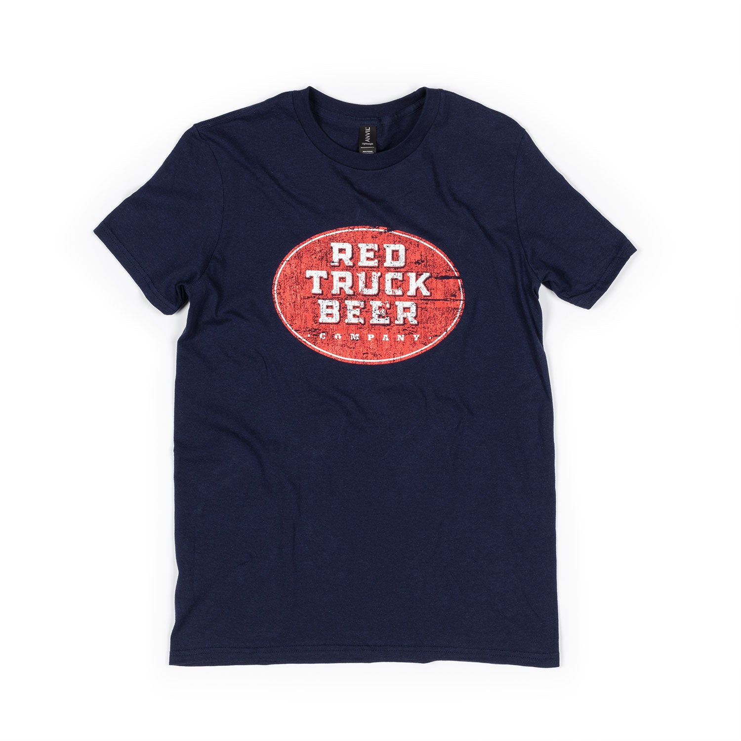 RED TRUCK RED OVAL NAVY TEE