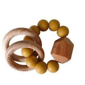 Hayes Silicone + Wood Teether Ring - Mustard Yellow