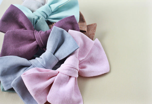 Ella |  Hand Tied Bow - Linen - Meander Blue