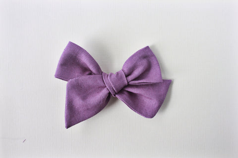 Ella |  Hand Tied Bow - Linen - Purple Rhapsody