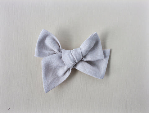 Ella |  Hand Tied Bow - Linen - Fortress Stone