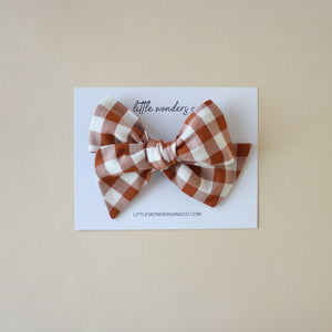 Ella |  Hand Tied Bow - Ginger Gingham