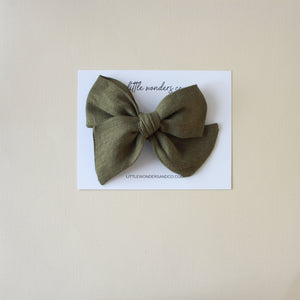 Ella |  Hand Tied Bow - Olive