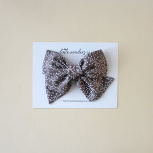Ella |  Hand Tied Bow - Floral Chocolate