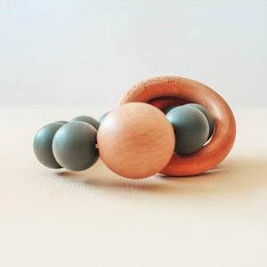 Caden | Silicone + Wood Teether - Charcoal