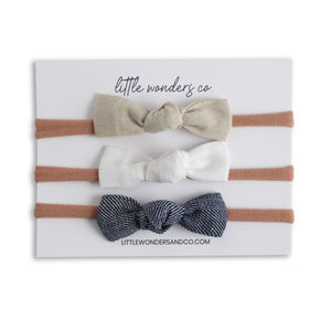 Luna | Petite Knot Bow Set - Latte + Snow + Denim
