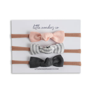 Luna | Petite Knot Bow Set - Peach Dust + Natural Stripe + Natural Stone