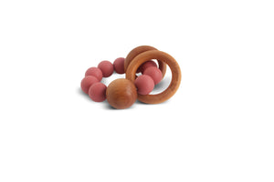 Caden | Silicone + Wood Teether - Burgundy Rose