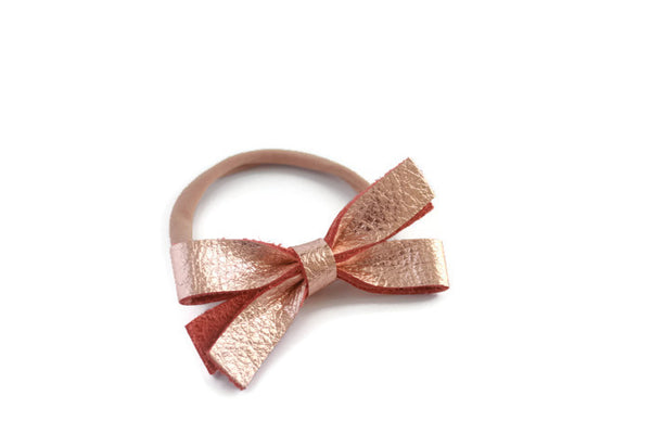 Pippa |  Leather Bow - Rose Gold