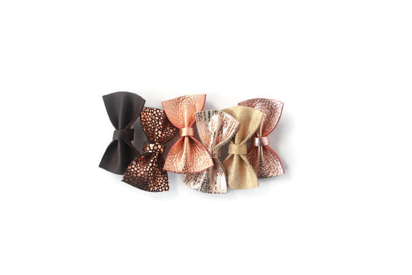 Stella |  Leather Bow - Chocolate Ombre