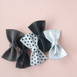 Stella |  Leather Bow - Black Ombre