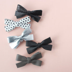Pippa |  Leather Bow - Black Ombre