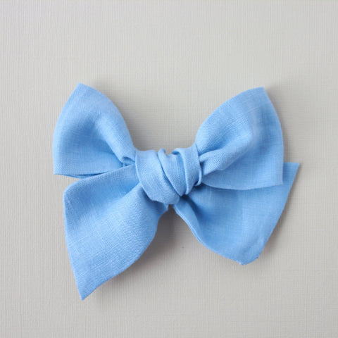Ella |  Hand Tied Bow - Linen - Bird's Egg