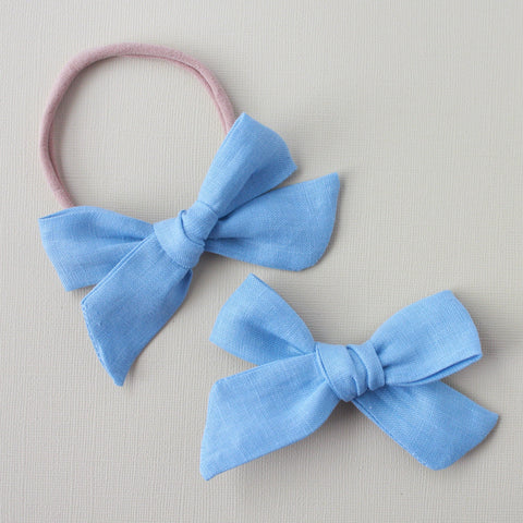 Eden |  School Girl Bow - Linen- Bird's Egg