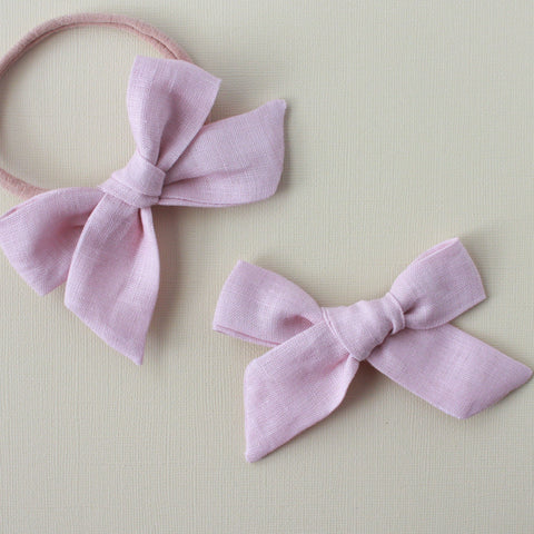 Eden |  School Girl Bow - Linen- Blushing Bride