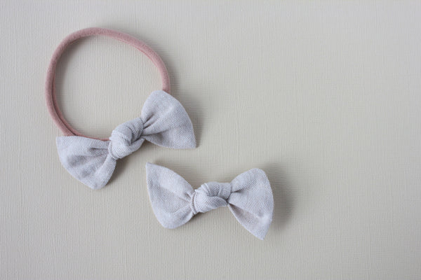 Luna |  Knot Bow - Linen - Fortress Stone
