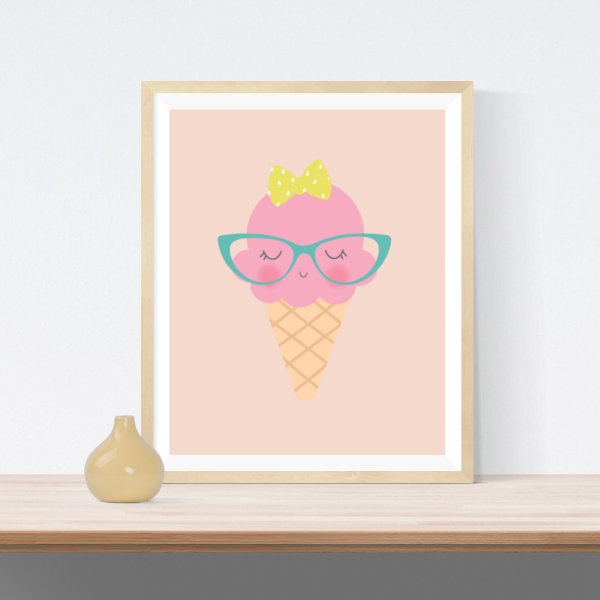 Ice Cream Glasses | Printable Wall Art