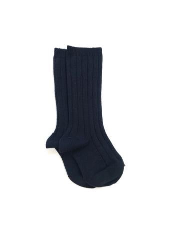 Ribbed Knee High Socks | Navy Blue