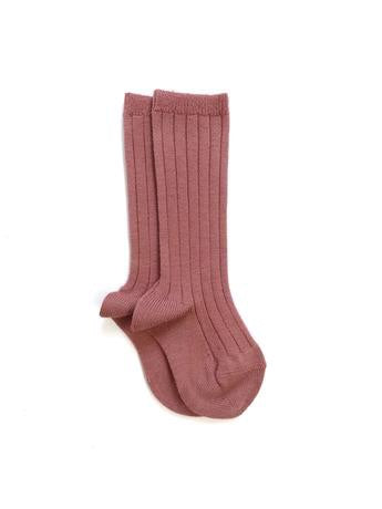 Ribbed Knee High Socks | Terracota