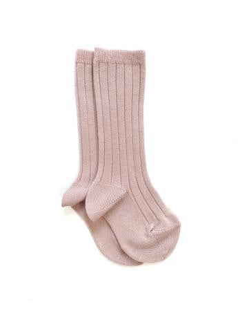 Ribbed Knee High Socks | Pale Pink