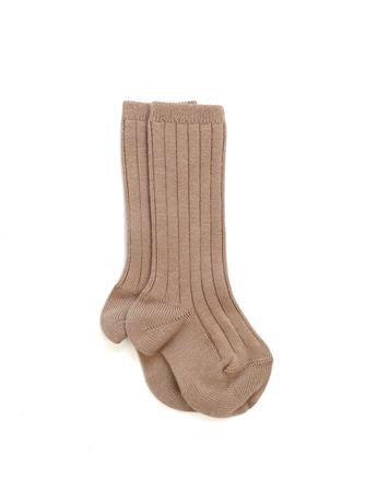 Ribbed Knee High Socks | Camel