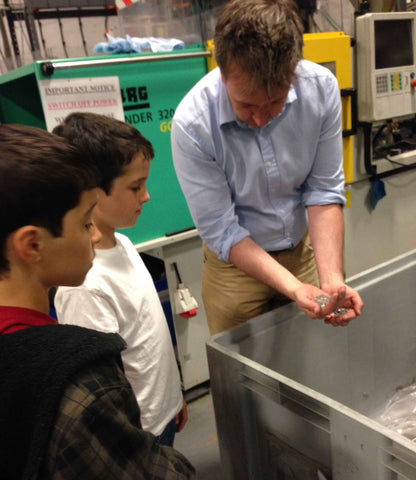 Scottish injection moulder McLaren Plastics shows children how to recycle plastic sprues for G-Hold's STEM education