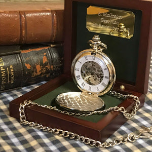 The Kensington - Chequered Silver Pocket Watch