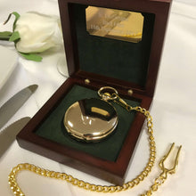engraved mechanical gold wedding pocket watch rosewood box