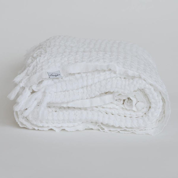 Waffle Blanket - White - Kala Home - Throw