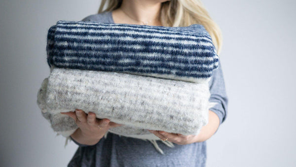 Kala Collective - 100% wool blanket - Blue & Ivory - Handwoven wool blanket - Chamarra Blanket