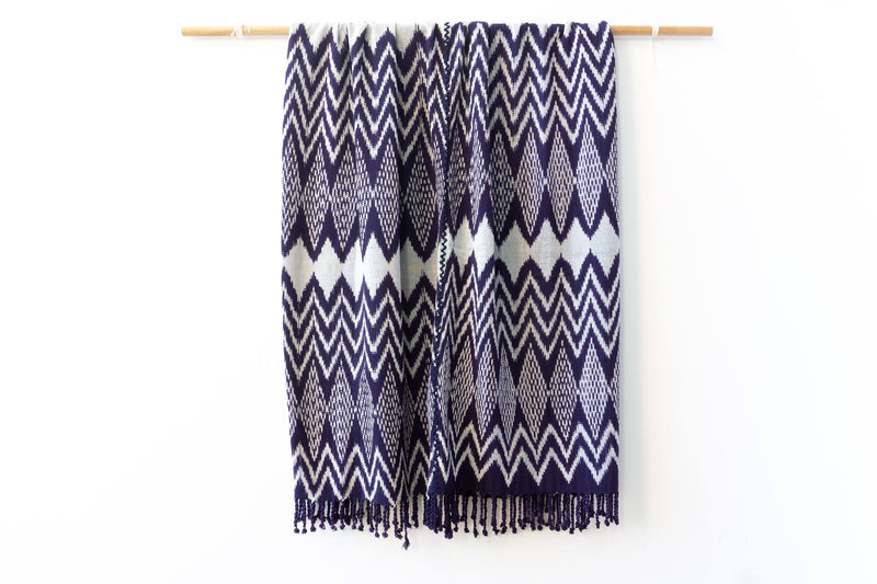 Kala Collective - El Lago Blanket - Indigo - Natural Dye Cotton