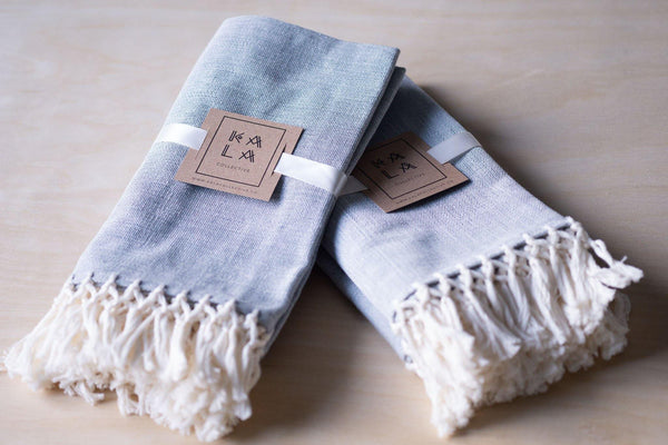Kala Collective - 100% Cotton Napkins -Handwoven - Cotton Napkin Set - Jovel Napkin - Grey Blue Ivory