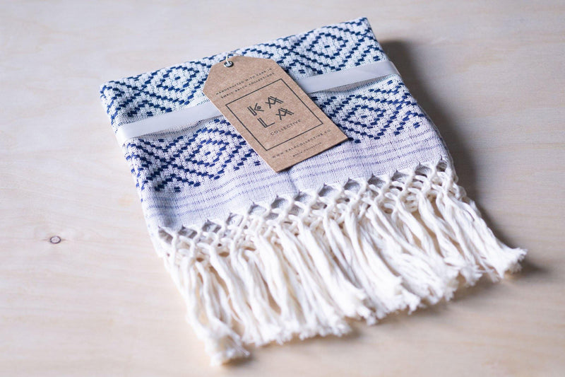Kala Collective - Rombos Hand Towel - Navy & Grey - Cotton Hand Towel