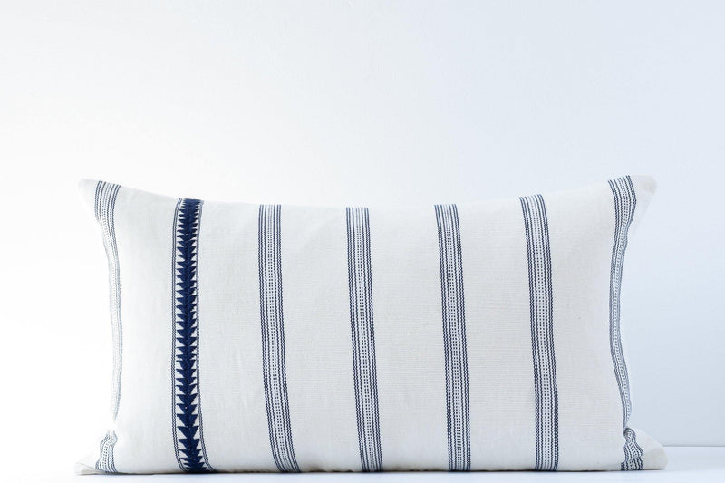Kala Collective - Matea Pillow Lumbar - Ivory & Indigo - 14x24