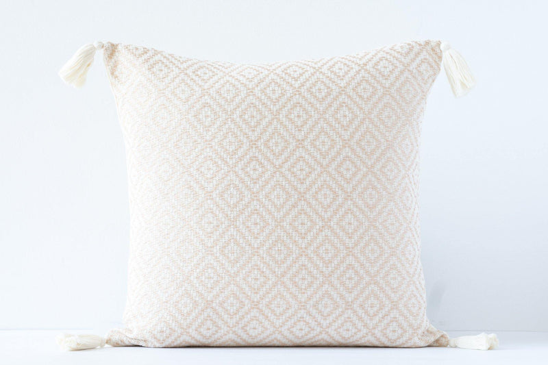 Kala Collective - Rombos Pillow - Ivory & Blush- Tassels - 18x18