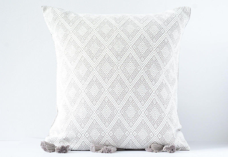 Kala Collective - San Andres Pillow - Light Grey & Ivory - Handwoven Cotton - 18x18